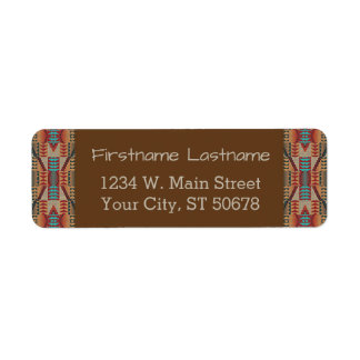 Red Turquoise Orange Brown Ethnic Pattern Art