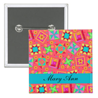 Red Turquoise Patchwork Quilt Name Badge