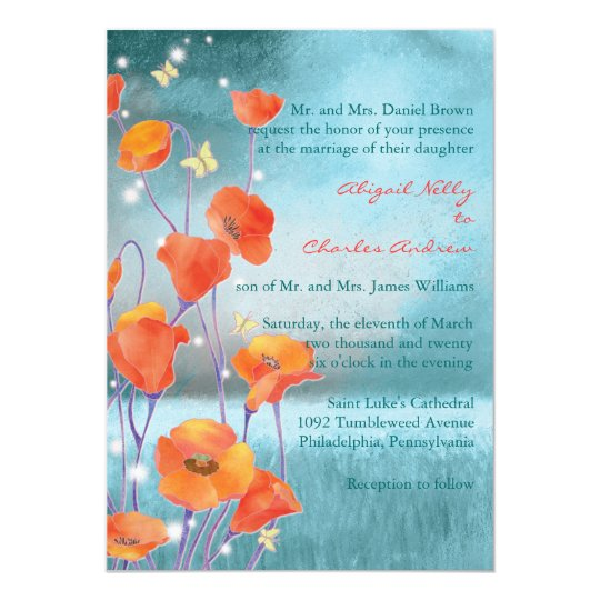 Red & Turquoise Poppy Formal Floral Wedding Card