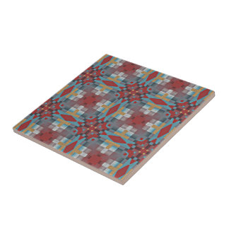 Red Turquoise Teal Orange Eclectic Ethnic Look Tile