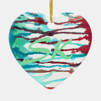 Red & Turquoise Watercolor Drips Ceramic Heart Decoration
