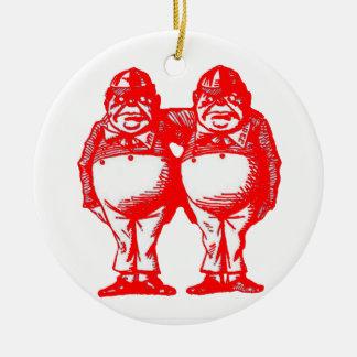 Red Tweedle Dee & Tweedle Dum Christmas Ornament