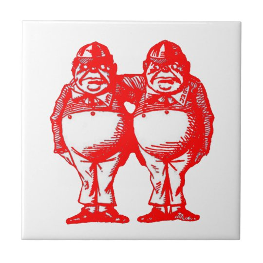 Red Tweedle Dee & Tweedle Dum Tile