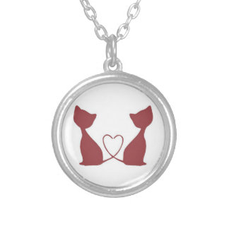 Red Twin Cats Heart Tail Necklace