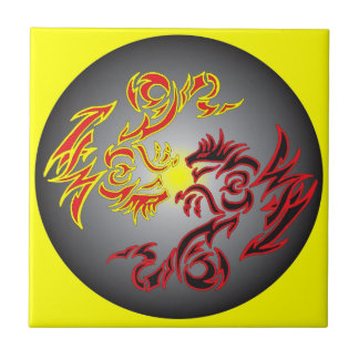 red twin moon dragon small square tile