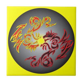 red twin moon dragon tile