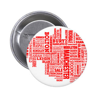 Red type map of Greater Manchester 6 Cm Round Badge