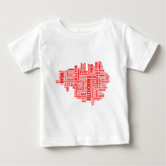 Red type map of Greater Manchester Baby T-Shirt