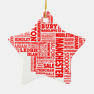 Red type map of Greater Manchester Ceramic Star Decoration