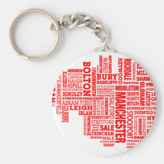 Red type map of Greater Manchester Key Ring