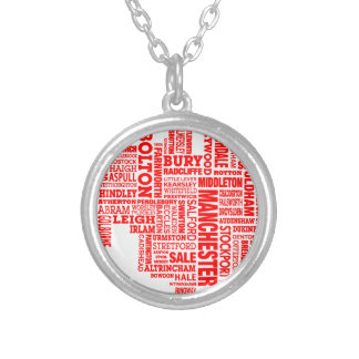 Red type map of Greater Manchester Silver Plated Necklace