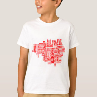 Red type map of Greater Manchester T-Shirt