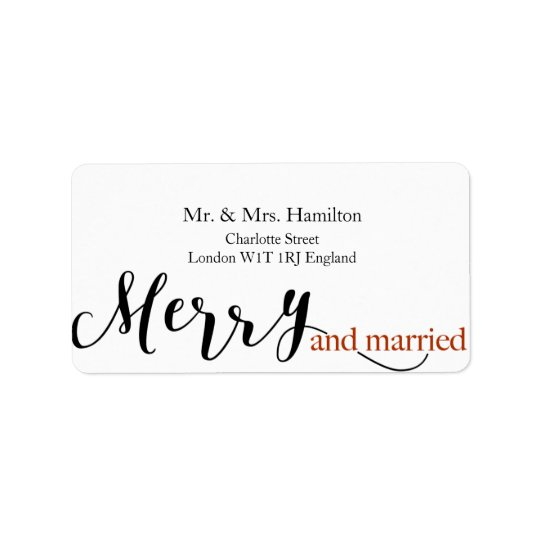 "Red Typography ""merry and married"" Christmas Label"
