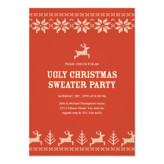 Red Ugly Sweater Party Invitations