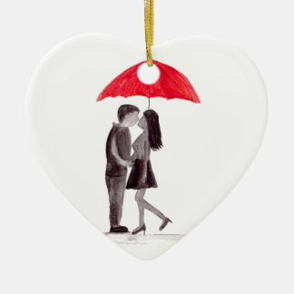 Red umbrella couple in love watercolour ceramic heart decoration