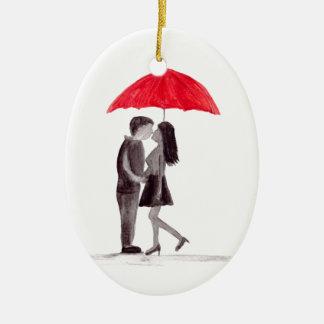 Red umbrella couple in love watercolour ceramic oval decoration