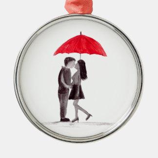 Red umbrella couple in love watercolour christmas ornament