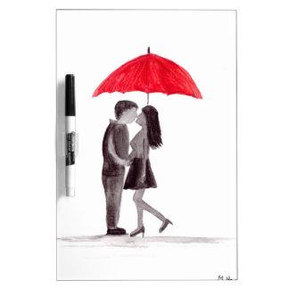 Red umbrella couple in love watercolour dry erase white board