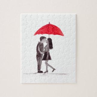Red umbrella couple in love watercolour jigsaw puzzle