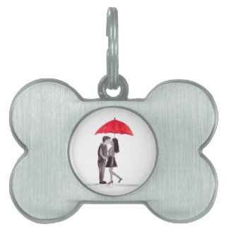 Red umbrella couple in love watercolour pet ID tag