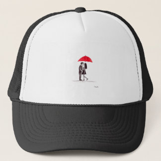 Red umbrella couple in love watercolour trucker hat