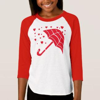 Red Umbrella Hearts Girls' Raglan T-Shirt