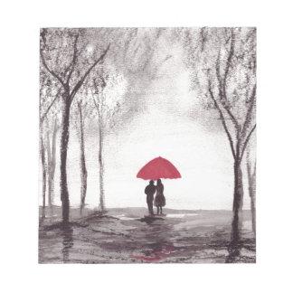 Red umbrella love couple note pad
