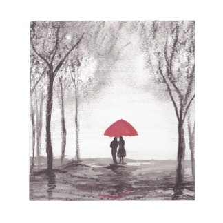 Red umbrella love couple note pad