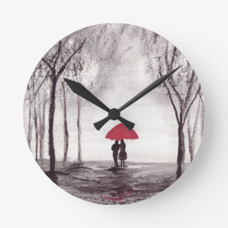 Red umbrella love couple wall clock