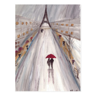 Red umbrella paris love couple postcard