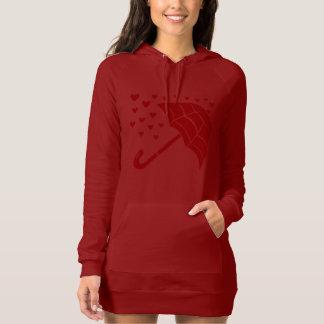 Red Umbrella Raining Hearts Women's Hoodie Dress