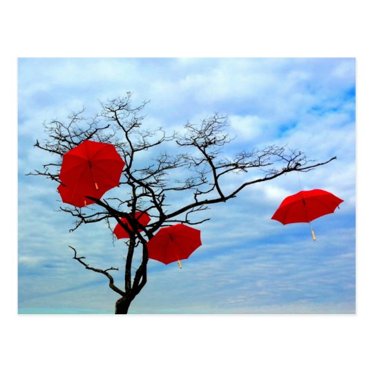 Red Umbrella Tree Postcard