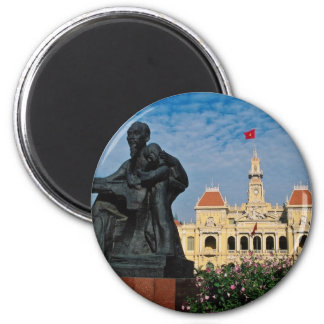 Red Uncle Ho statue, Ho Chi Minh flowers 6 Cm Round Magnet