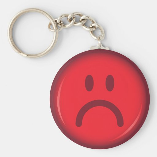 Red unhappy pouty angry smiley face key chain