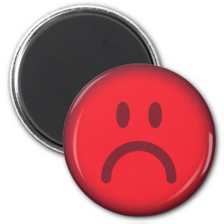 Red unhappy pouty angry smiley face magnet