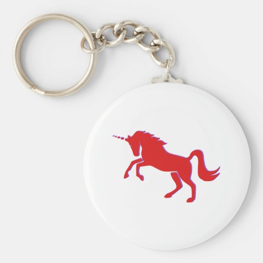 Red Unicorn Basic Round Button Key Ring