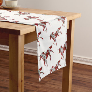 Red Unicorn Flowers Short Table Runner