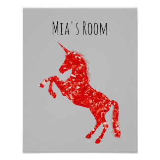 Red Unicorn mystical creature kid's room Poster