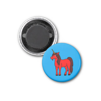 Red Unicorn with Dark Mane 3 Cm Round Magnet