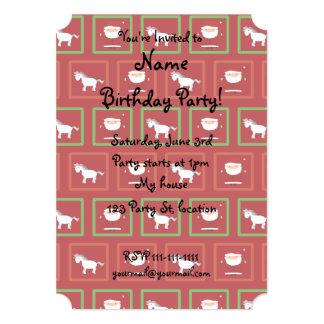 "Red unicorns santa claus pattern 5"" x 7"" invitation card"