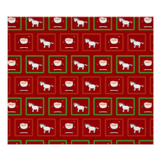 Red unicorns santa claus pattern print