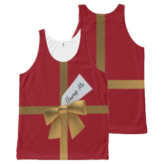 Red Unwrap Me Christmas Present Unisex Tank