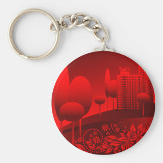 red urban basic round button key ring