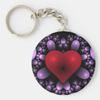 Red Valentine Heart/Hearts Wedding Bride and Groom Basic Round Button Key Ring