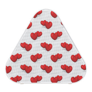 red valentine hearts over white background