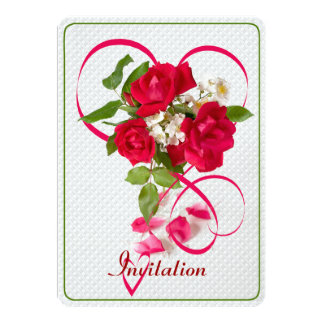 Red Valentine Roses and Ribbon Hearts 13 Cm X 18 Cm Invitation Card