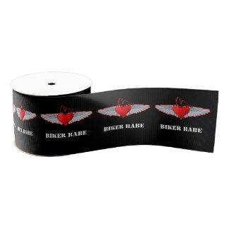 Red Valentines biker babe heart tattoo style Grosgrain Ribbon