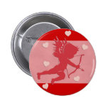 Red Valentine's Day Cupid and Hearts Button