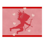 Red Valentine's Day Cupid and Hearts Post Cards