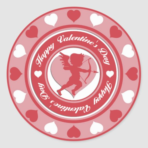 Red Valentine's Day Cupid and Hearts Round Sticker